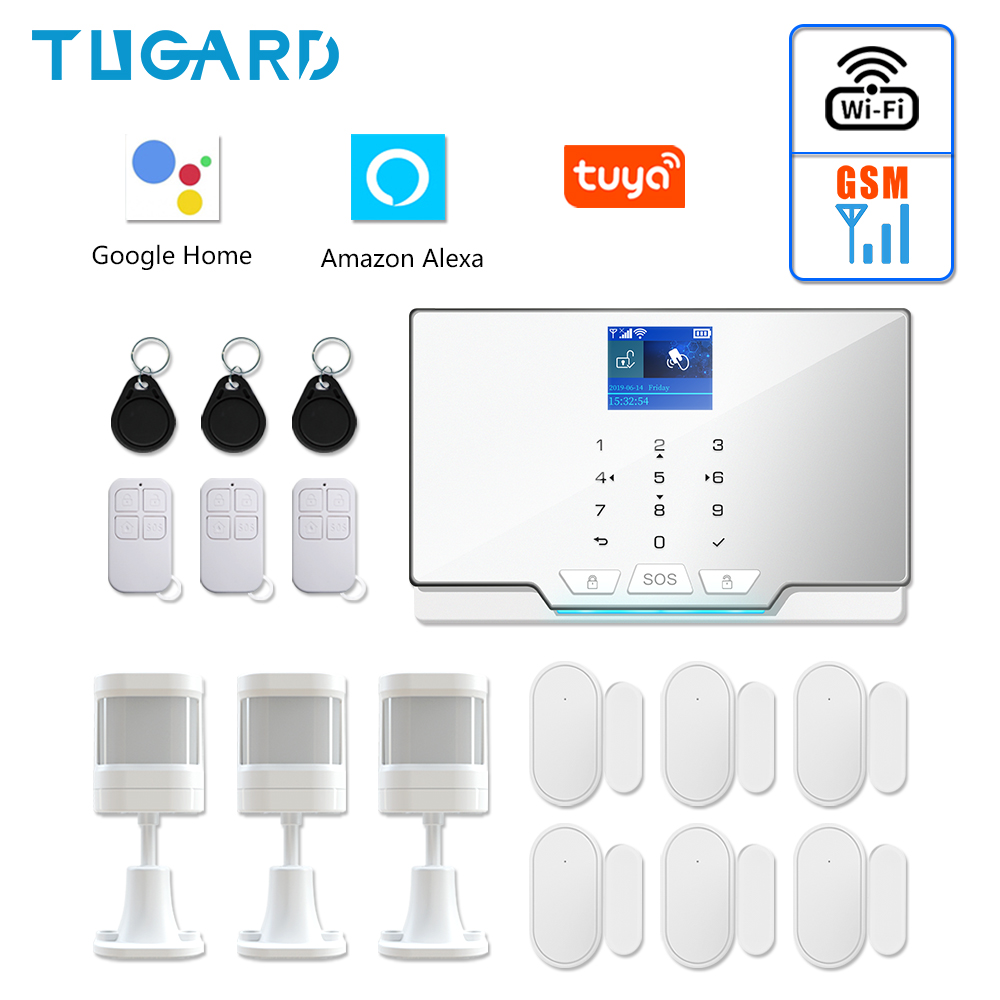 Newest White G20 WIFI GSM Home Security Alarm System Tuya Smart Burglar Alarm Kit with 433Mhz Wireless Detector and Door Sensor