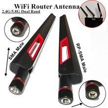 2 pçs 2.4g 5.8g antena dupla do roteador da faixa para asus ac88u ac87u rp sma antena universal masculina amplificador wlan wifi impulsionador