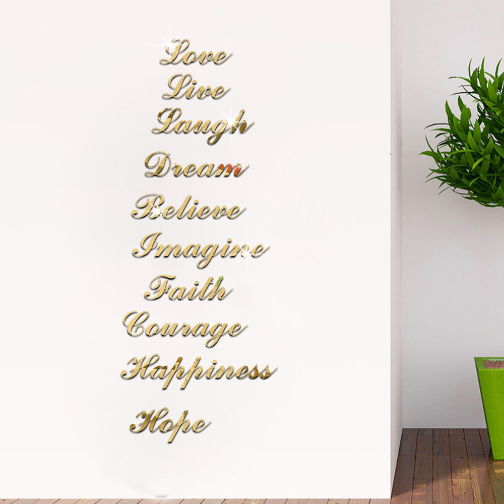 Inspirational Encouraging Words Acrylic Mirror Wall Stickers Stair Sticker Bedroom Living Room Decor Home Decoration Accessories