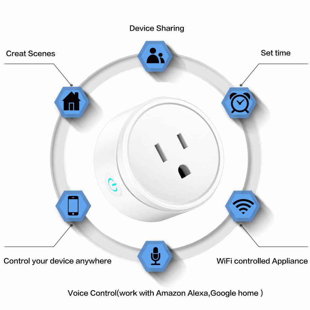 Inteligentna wtyczka WiFi zewnętrzne gniazdo sterujące 10A 100-240V monitorowanie energii zasilania Timer gniazdo z przełącznikiem praca z Alexa Google Home IFTTT