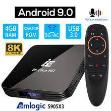 Ie x3 air caixa de tv android 9.0, 8k 4k ultra hd xdr youtube 1000m 5g wifi amlogic s905x3 4gb 32gb 64gb conjunto top tv caixa