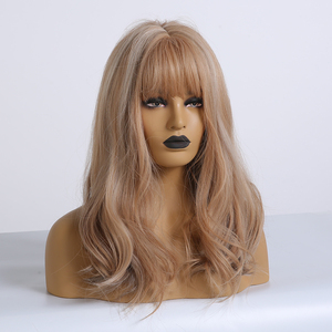 Image 5 - ALAN EATON Brown mix Blonde Ash Wig with Bangs Natural Wave Wigs for Women Midium Bob Synthetic Hair wigs Lolita Cosplay Wigs