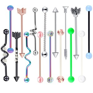 14G Surgical Steel Industrial Barbell for Women Men Cartilage Earring Helix Body Piercing Jewelry Oreja Ring 1 1/2 Inch 38mm 1pc