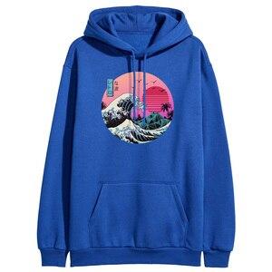 The Great Retro Wave Japan Anime Hoodies Sweatshirts Vaporwave Kanagawa Pullover Women Winter Harajuku Fleece Streetwear Outwear