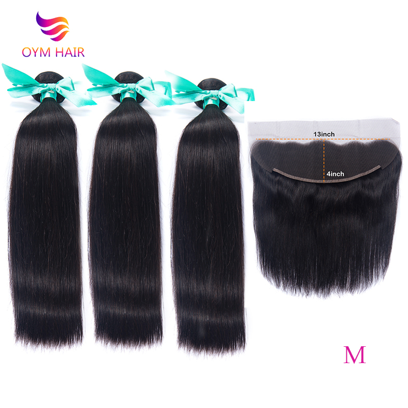 "OYM HAIR Straight Hair Bundles With Closure 8""-26"" Middle Ratio Non-Remy Brazilain Hair Weave Bundles With 13x4 Lace Frontal"