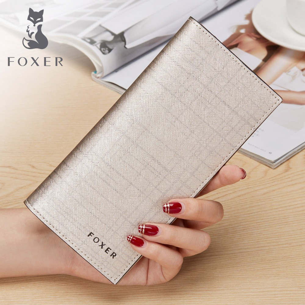 FOXER Wrand Women Split Leather Wallet & Purse Fashion Designer Female Long Cowhide Leather Wallets Clutch Bag For Woman