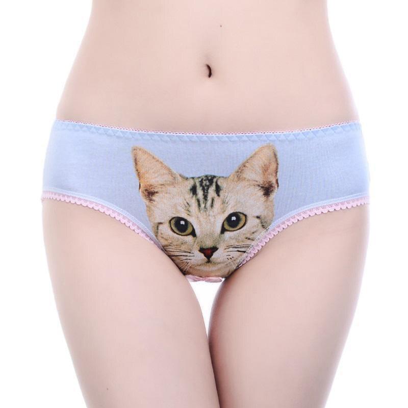 2021 Women Sexy 3D Cat Printing Panties Underwear Cotton Briefs Girls Lingerie Intimates Briefs Shorts Female Underpants 4
