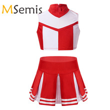 Outfit Costume Cosplay Cheerleader Girls with Pleated-Skirt-Set for Stage-Performance