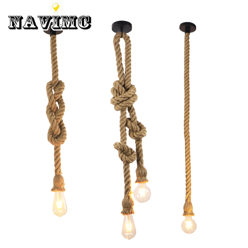Vintage Hemp Rope Pendant Light AC90-260V E27 Loft Creative Personality Industrial Lamp For Restaurant Coffee