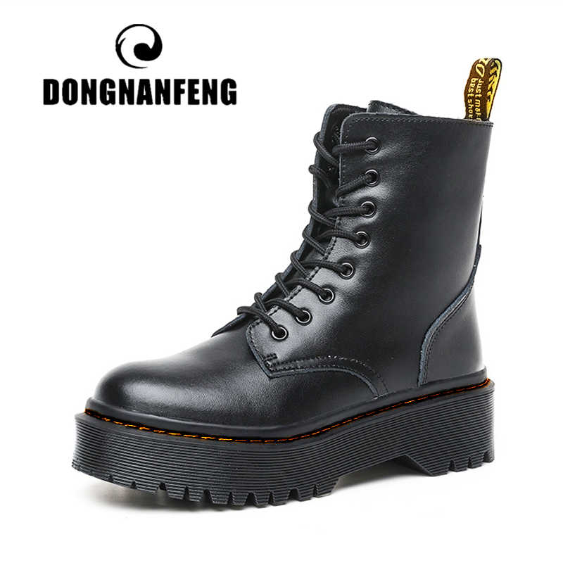 DONGNANFENG frauen Damen Weiblichen Echtem Leder Stiefel Schuhe Ankle Lace Up Reit Plattform Plüsch Fell Warme Winter Zipper JSL-018