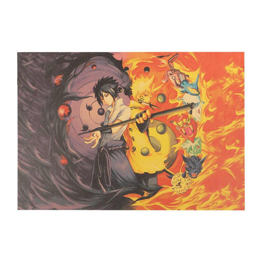 Pegatina de pared Mural papel tapiz Naruto clásico japonés dibujos animados cómic cartel de una pieza decoración del hogar sala de estar naklejki decorativo