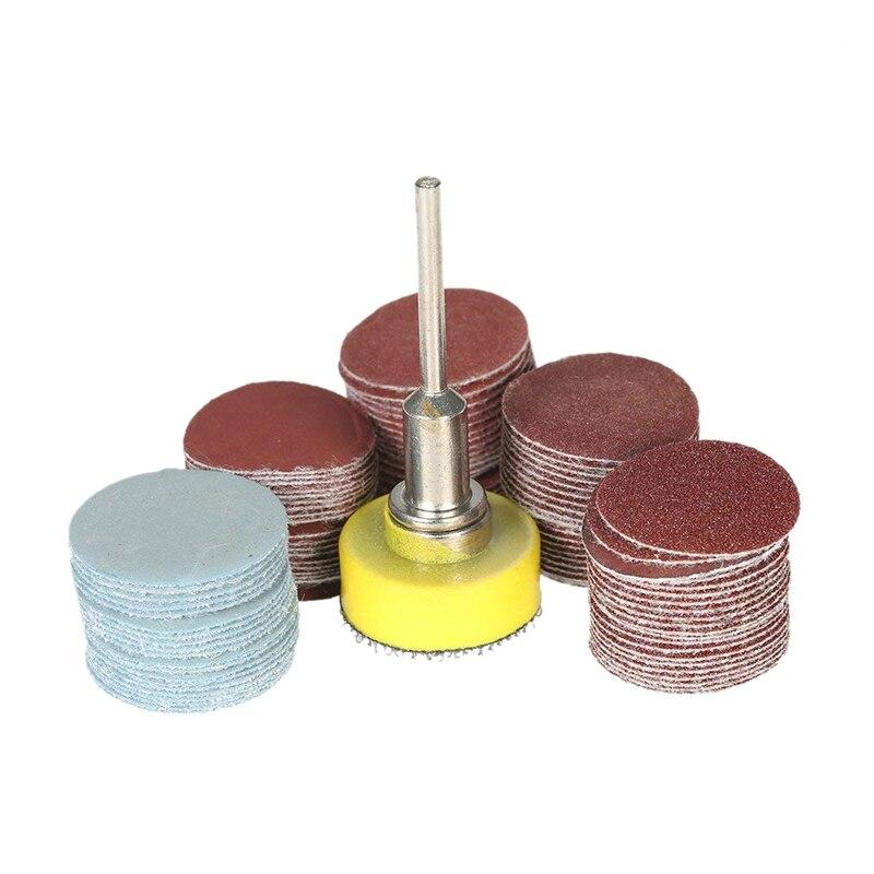 100Pcs 25Mm 1 Inch Sander Disc Sanding Disk 100-3000 Grit Paper With 1Inch Abrasive Polish Pad Plate + 1/8 Inch Shank For Dremel