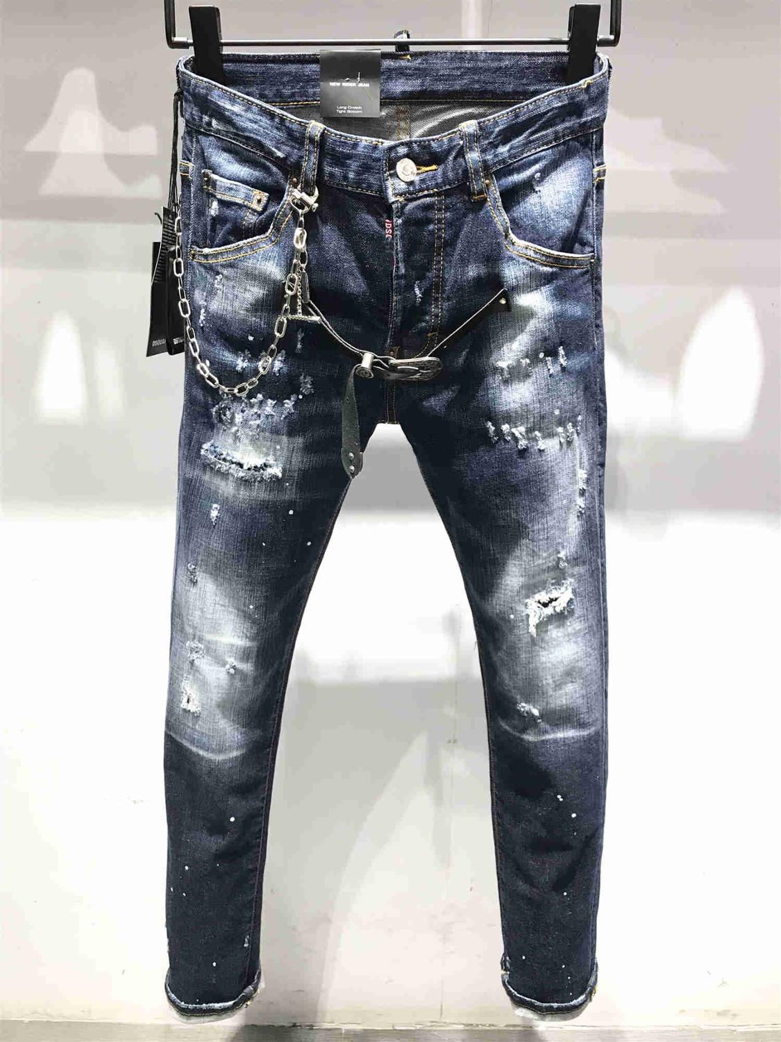 NEW Men Jeans Ripped For Men Skinny DSQ Jeans Pants Men Jeans Zipper Outwear Man Pants