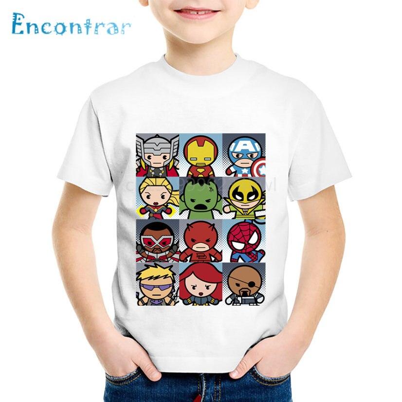 Детские Забавные футболки с мультяшным принтом в виде супергероев, детские летние футболки, топы для мальчиков и девочек, детская одежда, ...