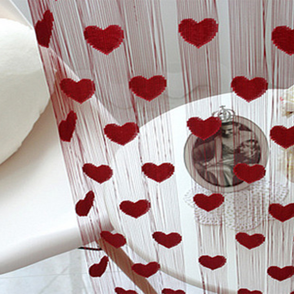 Heart String Curtain Window Door Balcony Home Decoration Decorative Curtain for Living Room Bedroom 2m 1m in Curtains from Home Garden