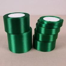 Fita de cetim verde para rosto único, 25 jardas/rolo, fita de cetim para decoração de festa, envoltório de presente, laços de natal, costura