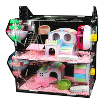 clearance!Acrylic Hamster Cage Double-Decker Villa Oversized Transparent  Baby Supplies Toy Goldbear