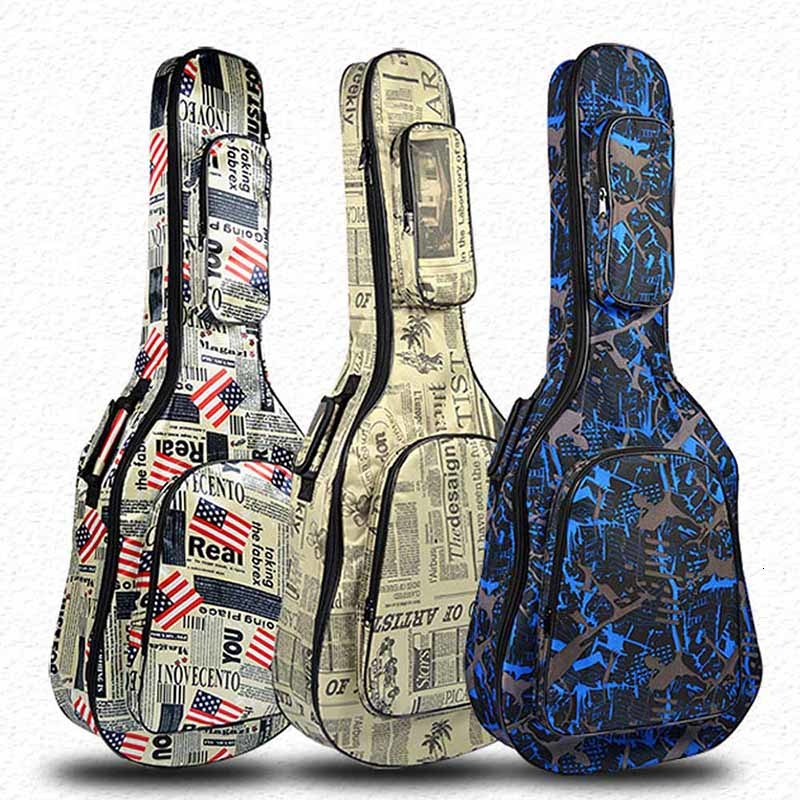 40 / 41 Inch Guitar Bag Carry Case Backpack 600D Oxford Waterproof Acoustic Folk Guitar Gig Bag Cover With Shoulder Straps