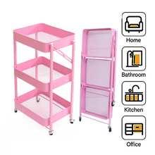 Folding Alloy Kitchen Rolling Trolley 3 Tier Durable Utility Cart Bathroom Bedroom Kitchen Storage Rack Organizer Space Saving