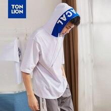 TONLION мужской половины рукав толстовка с капюшоном белый большой размер буквы украшения толстовка с Hat тонкие летние пуловеры опрятный стиль 2020