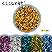 Approx.1000pcs 2mm Metallized Color Czech Glass Beads Loose Spacer Beads For Jewelry Making DIY Bracelet Necklace Kralen Gold natural stone chrysocolla approx 14x16mm oval shape loose beads approx 39cm diy jewelry making bracelet necklace