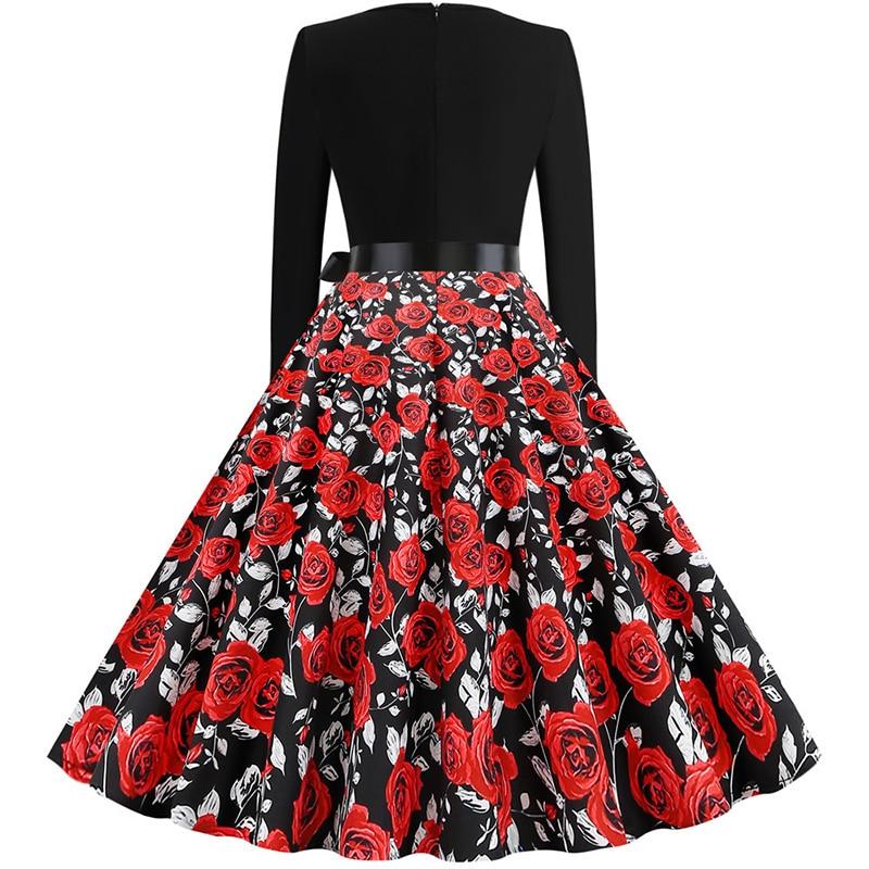 Women Long Sleeve Winter Vintage Dresses Sexy Black Music Note Print V-neck Rockabilly Pin up Party Dress Vestidos Plus size 669