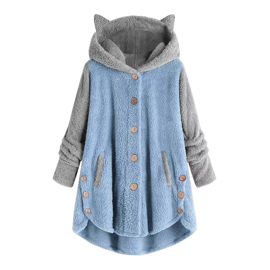 Two Color Cat Ear Hooded Women's Plus Size Jacket