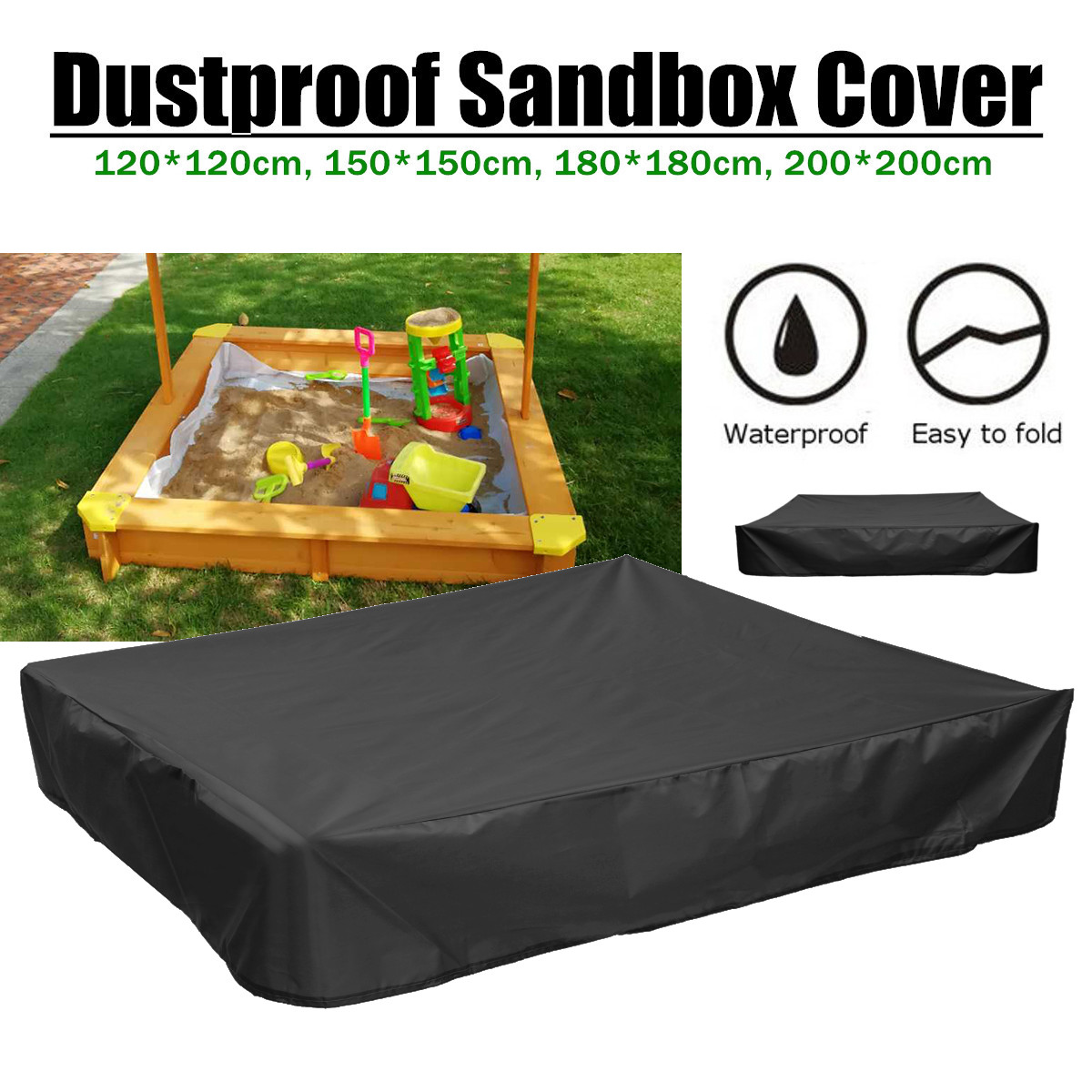 Multifunction Garden Sandbox Sandpit Dust Cover Oxford Cloth Drawstring Canopy Dustproof Waterproof Shelter 4 Sizes Square