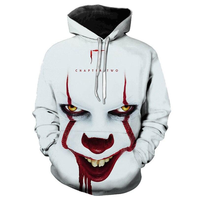 Horror Movie IT Clown 3D Printed Hoodie Sweatshirts Men Women Freddy Jason Film Pullover Tops Hip Hop Casual Oversized Ho