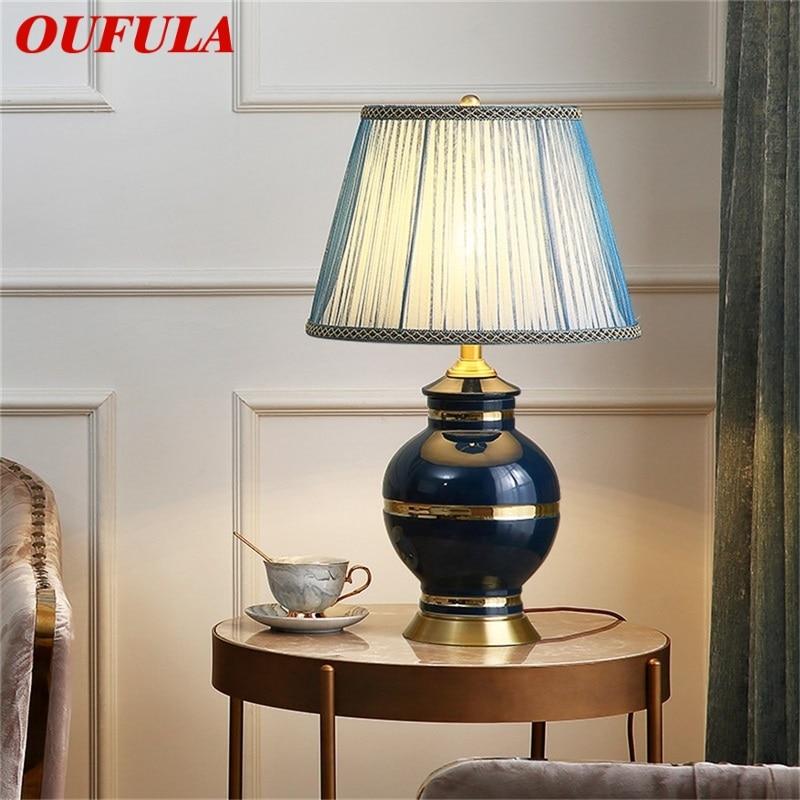 Керамические настольные лампы oufula латунный современный светильник