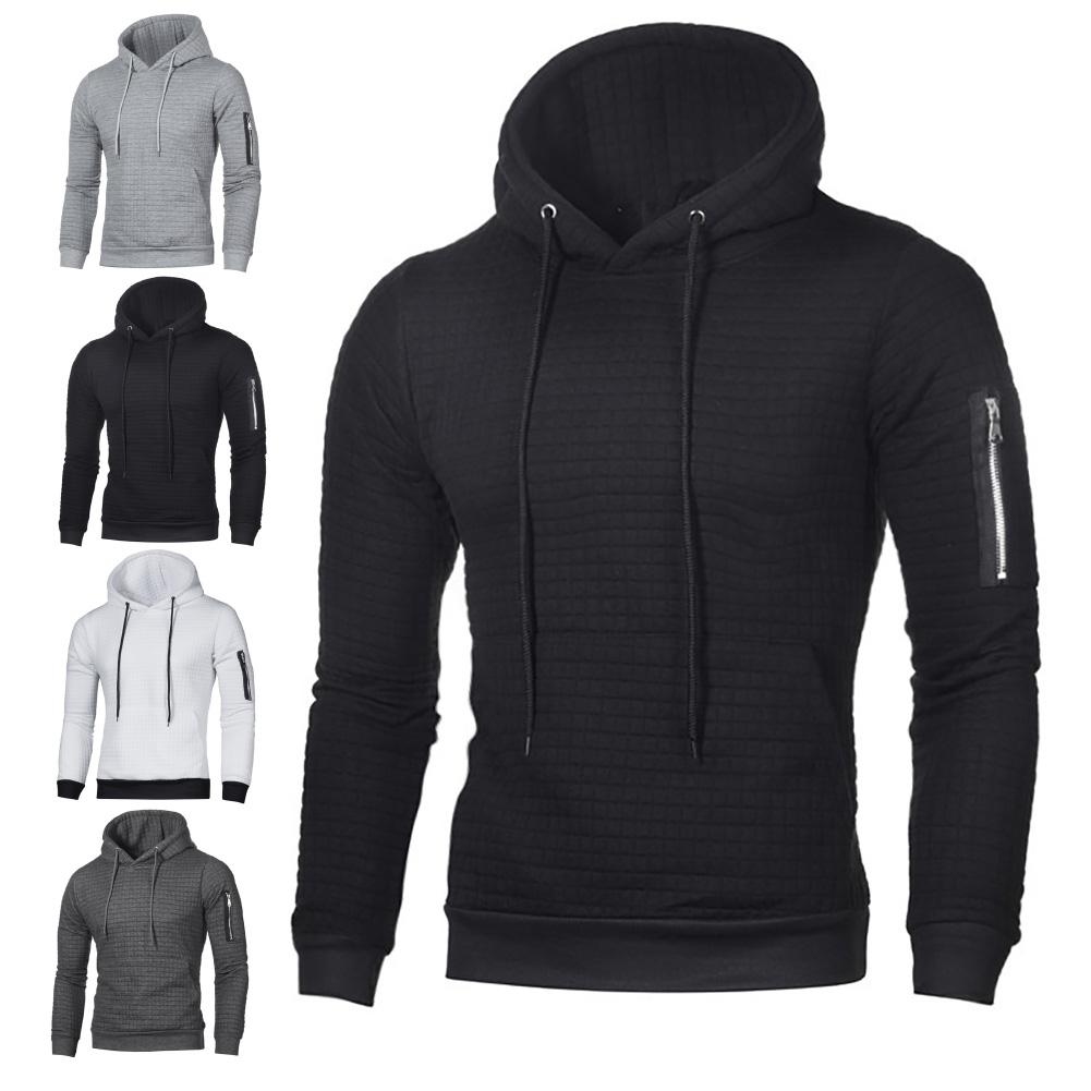 Men Hoodies Sweatshirts Winter Warm Long Sleeve Hoodies Pullovers Solid Color Jacquard Pullover Hooded Sweatshirt Men's Top