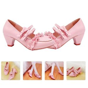 1 Pair Lolita Japanese-Style Women Shoes High-Heeled Bowknot Footwear For Girl Thick Heel Double Bow Lace Shoes