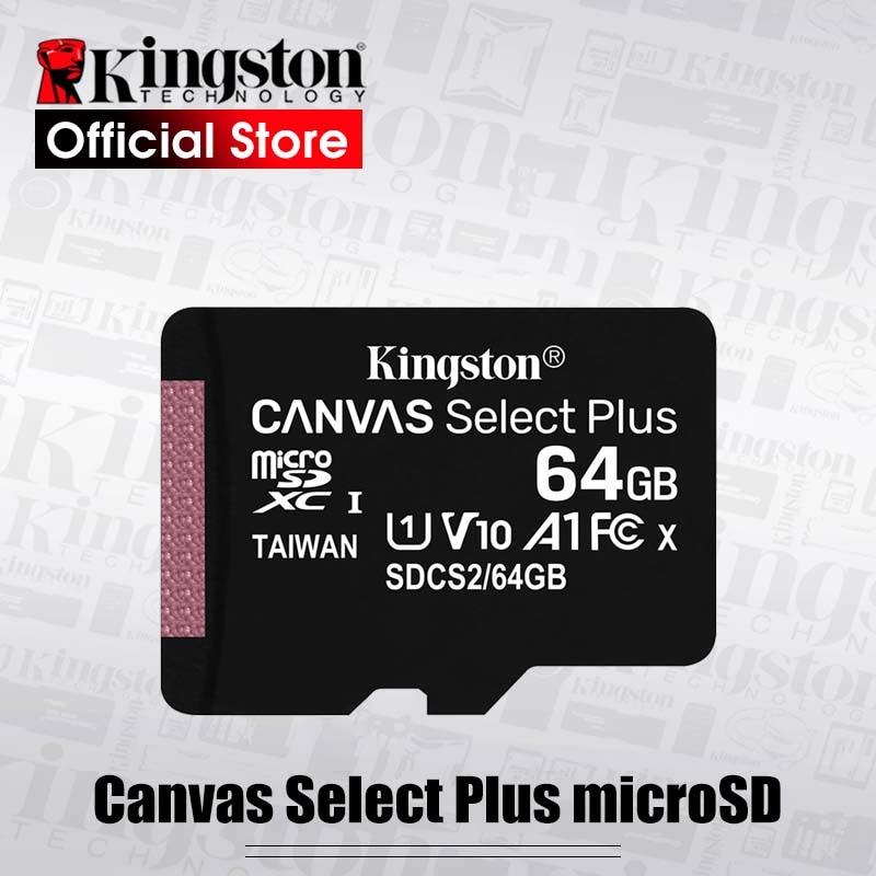 Карта microSD Kingston Canvas Select Plus, класс 10, 128 ГБ, 32 ГБ, 64 ГБ, 256 ГБ, 16 ГБ, 512 ГБ