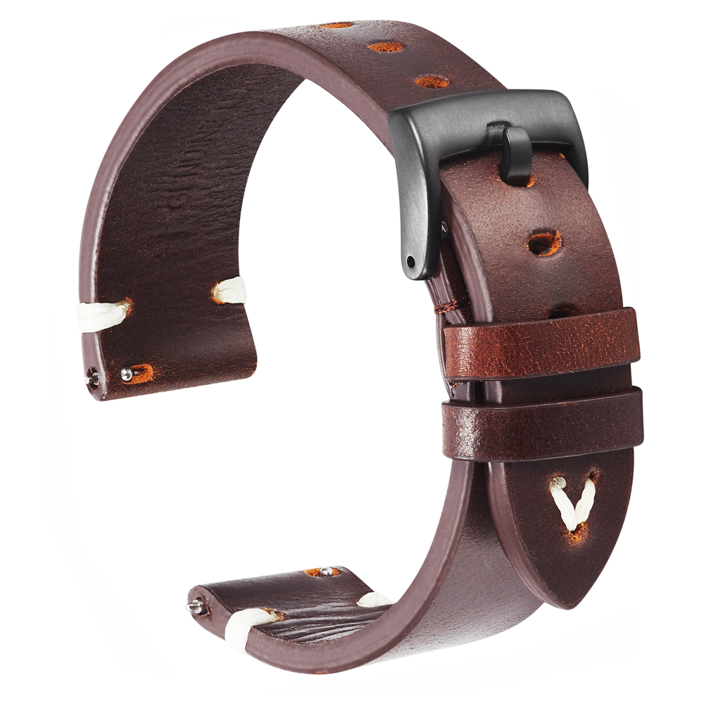 Cowhide Watch Straps Bracelet 18mm 20mm 22mm Red Brown Handmade Oil Wax Genuine Leather Watchbands Quick Release For Gear S3