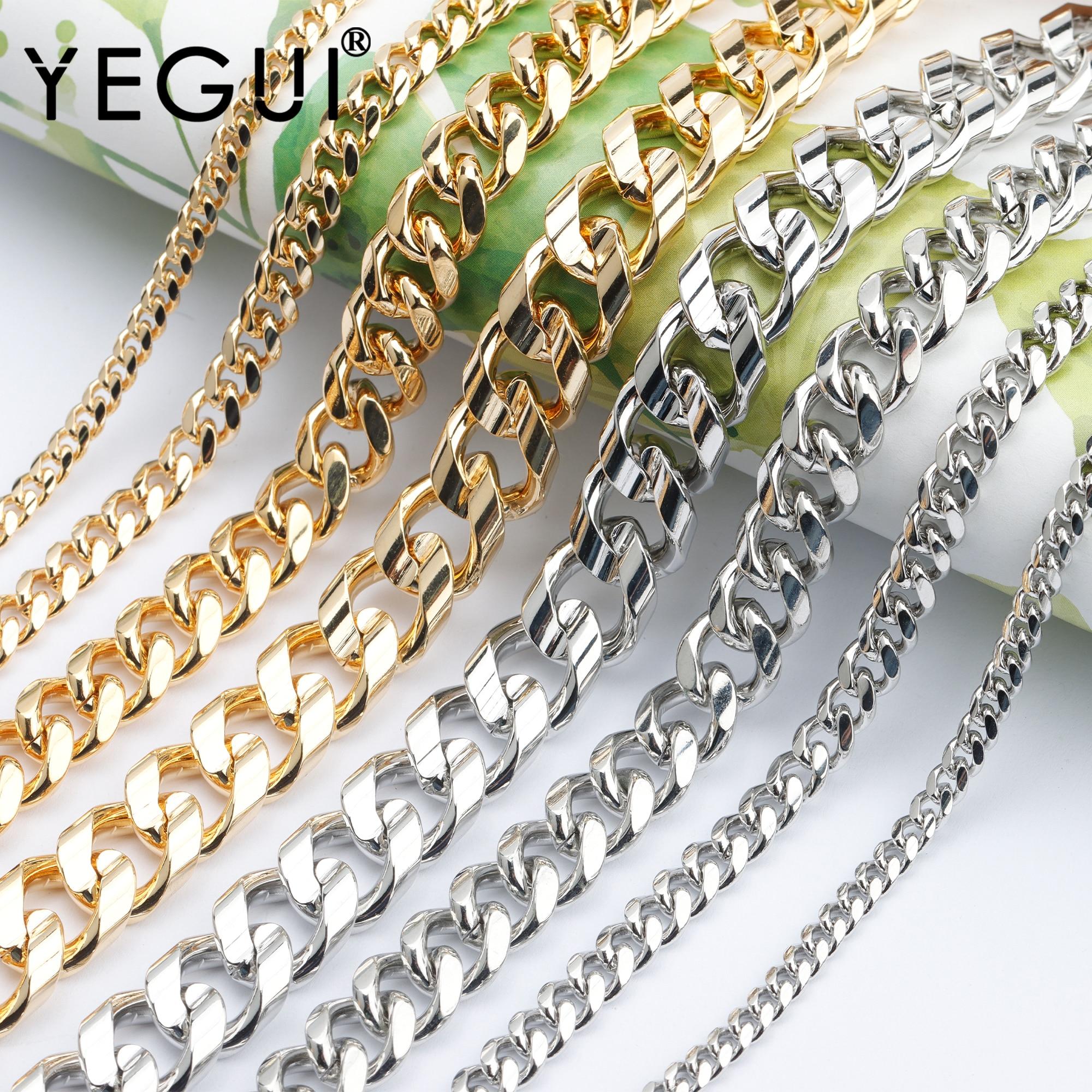 YEGUI C155, сделай сам, цепи, 18k с позолотой, 0,3 мкм, медь, металл, покрытие из родия, ювелирные изделия делая, браслетов или бус своими руками, 1 м/лот