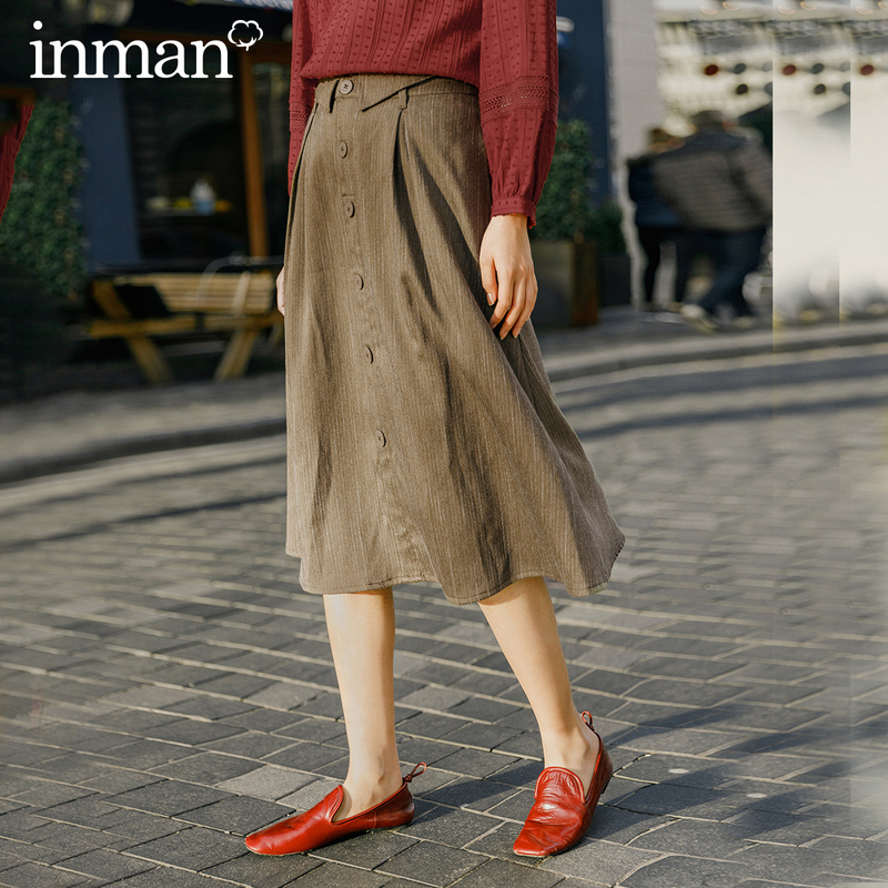 INMAN 2020 Spring New Arrival Literary Retro Single-breasted A-line Long Umbrella Skirt