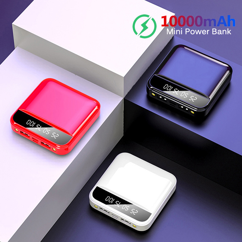 10000mAh Mini Power Bank For Xiaomi Phone <font><b>10000</b></font> <font><b>mah</b></font> Portable Charger LED Back Power Bank External <font><b>Battery</b></font> <font><b>Pack</b></font> Powerbank image