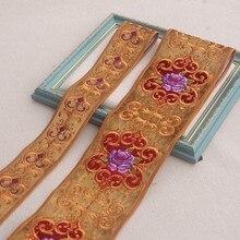 Bordado de alta qualidade fabic laço fita guarnições applique para decoração tecido renda costura 01