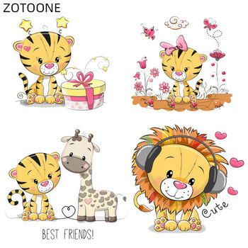 ZOTOONE Cartoon Tiger Patches Iron on Transfer for Clothing DIY Letter Flower Patch for Kids Ironing Vinyl Stickers Appliqued H image