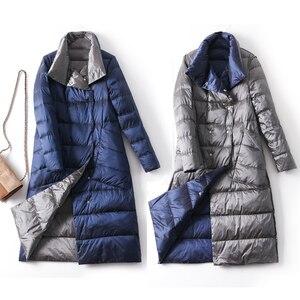 Image 4 - Veste dhiver en duvet de canard Ly Varey Lin pour femme, manteau Long et épais à carreaux Double face grande taille