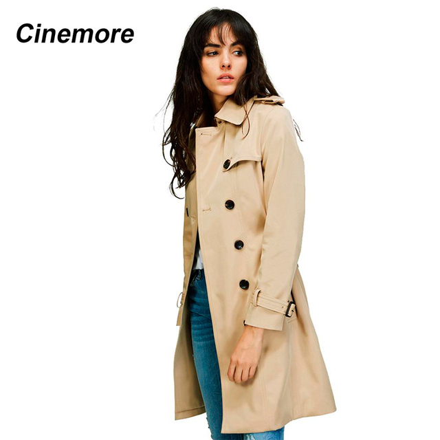 Cinemore 2020 Autumn New High Fashion Woman Classic Double Breasted Trench Coat Waterproof Raincoat Business Outerwear 860101 1