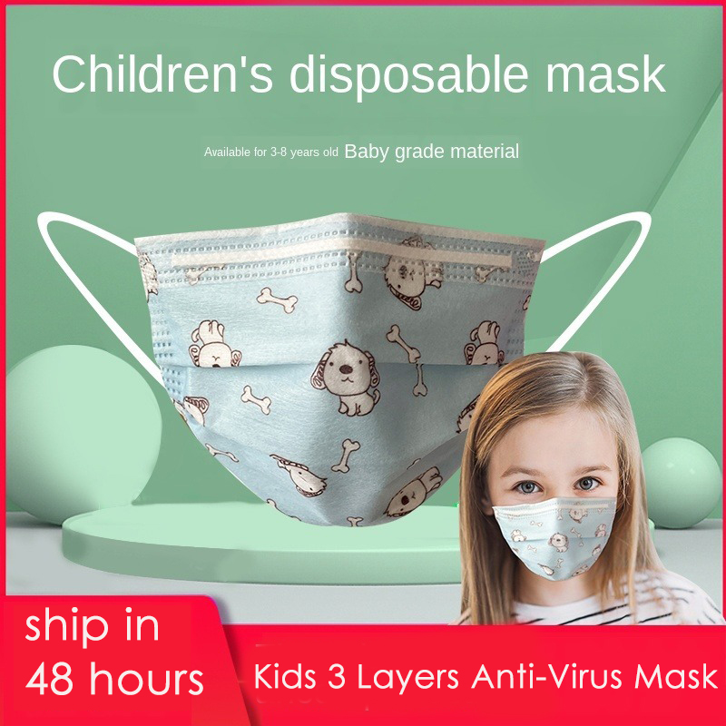 50Pcs Kids Disposable Anti Virus Mouth Mask Cartoon Printed 3 Layers Non-Woven 140x90mm Baby Protective Flu Facial Masks