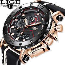 LIGE Mens Watches Top Brand Luxury Military Sport Watch Men Black Leather Analog