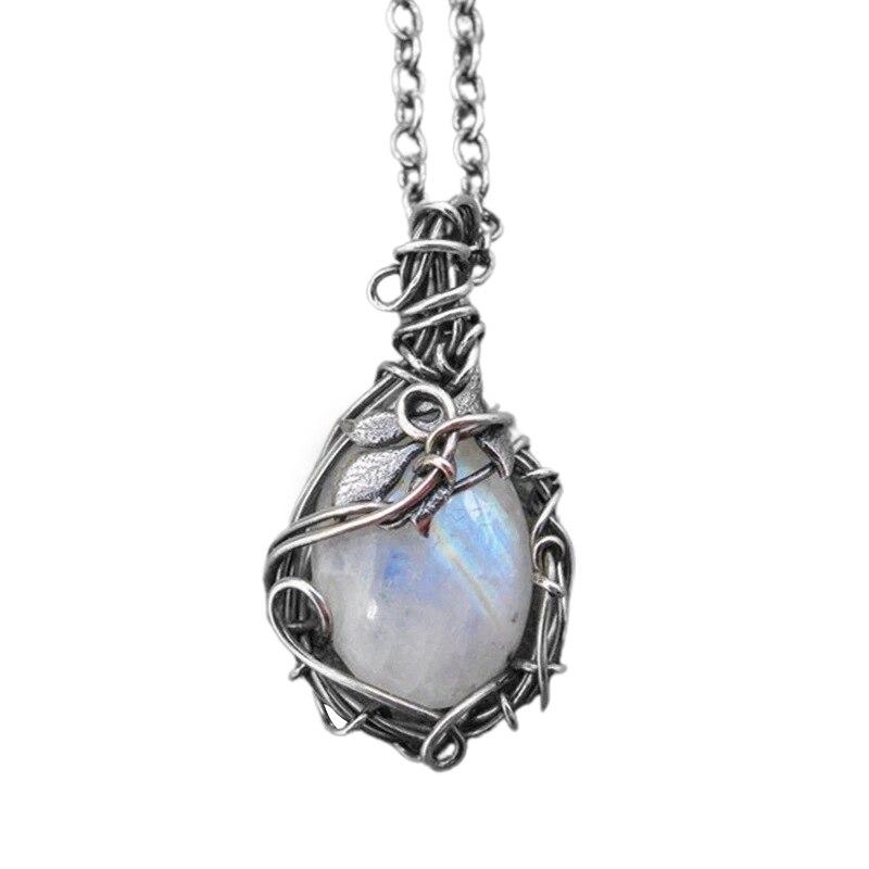 Высокое качество Винтаж Стиль серебро Цвет нагрудное ожерелье, ожерелье для детского выпускного вечера для девочек лунные камни ожерелья К...