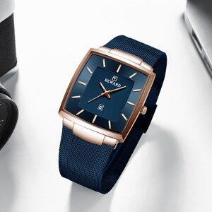 Image 4 - Часы наручные мужские кварцевые, брендовые деловые, квадратные, водонепроницаемые полностью стальные