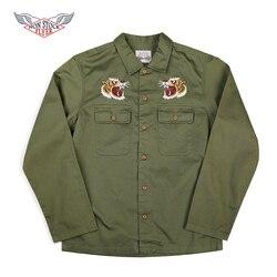 Не в наличии Вьетнам войны рубашка на память куртки Ретро Мужчины вышитые Тур Спецодежда