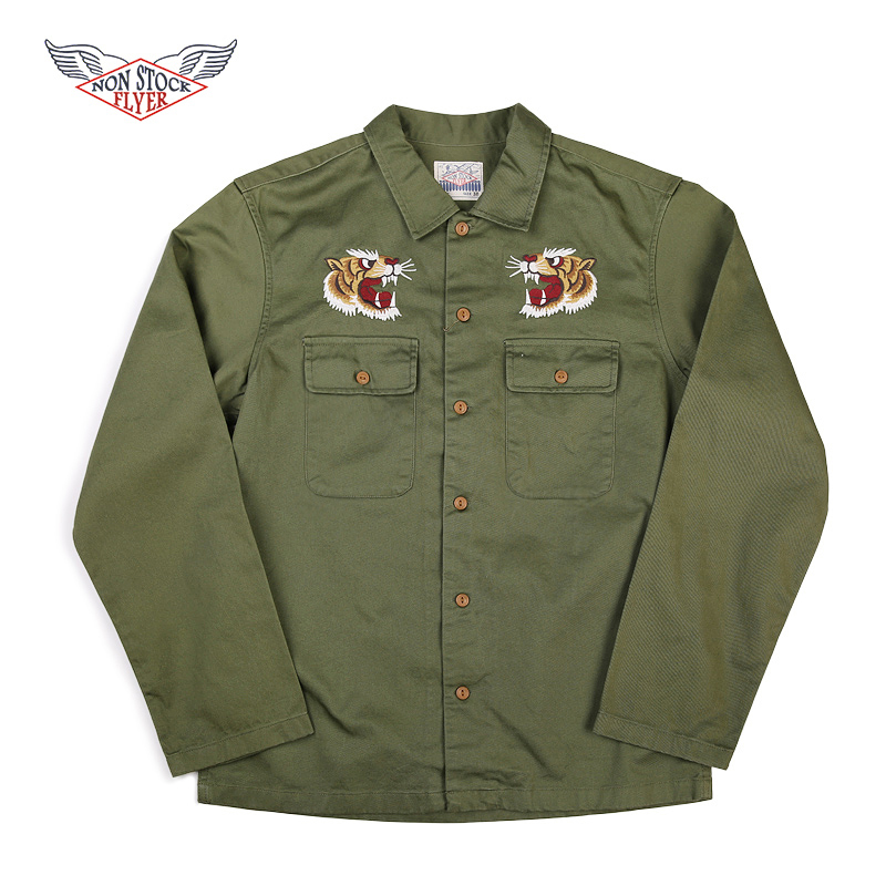 NON STOCK Vietnam War Souvenir Shirt Jackets Retro Men Embroidered Tour Workwear