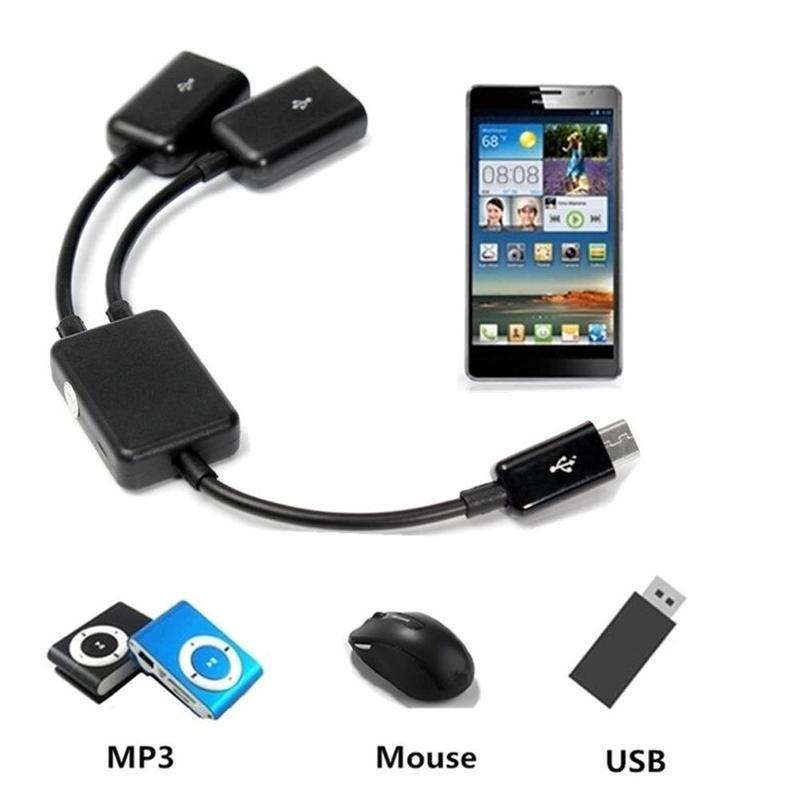 1 шт. 2 в 1 микро-USB двойной хост OTG зарядный концентратор Y-образный разветвитель адаптер кабель для планшета Черный Дата-кабель для Android смарт...