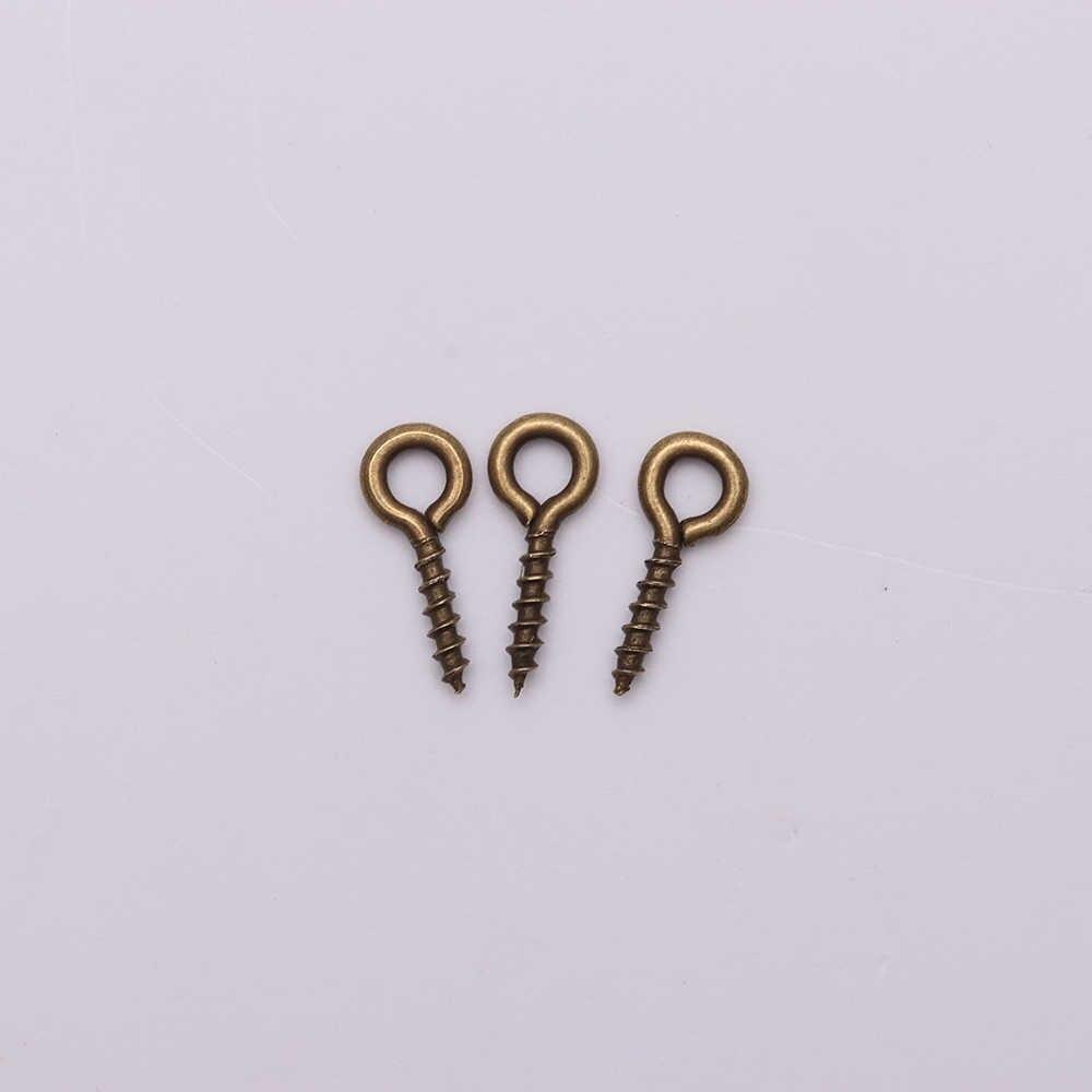 200 Pcs Kleine Tiny Mini Eye Pins Eyepins Haken Oogjes Schroefdraad Goud Zilver Sluitingen Haken Sieraden Bevindingen Voor Maken diy