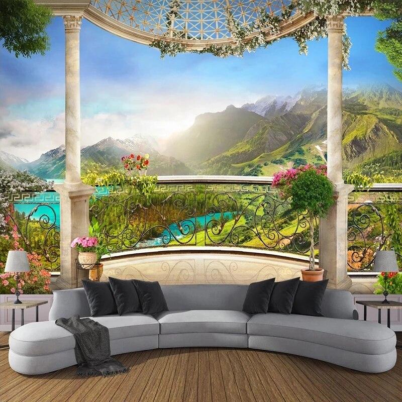 Самоклеящиеся обои на заказ, настенные 3D обои с окном, балконом, горным пейзажем, для спальни, гостиной, дивана, фоном под телевизор, домашний...